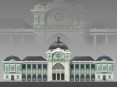 Maputo railway station train architecture building railway pixel station illustration