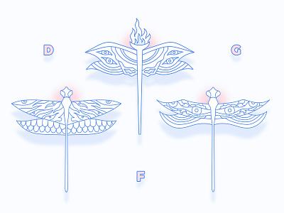 Dragonflies creature creepy eyes shadow line illustration dragonflies dragonfly