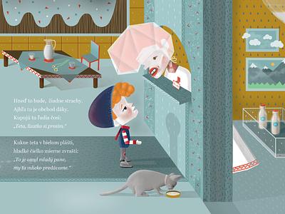 How come you don't have lollipops affinity affinitydesigner vector illustrationdaily book childrensbook cat boy milk digitalillustration