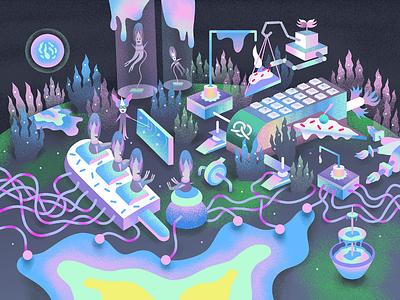 Planet Sugria creature colourful illustration digital pastelcolours sugar planet alien puzzle