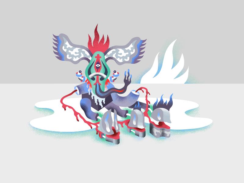 Kazar affinity vector illustration canvas god alien
