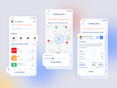 Gemii - Shopping Driver App download file clean minimal ux food app driver app creative inspired design ui