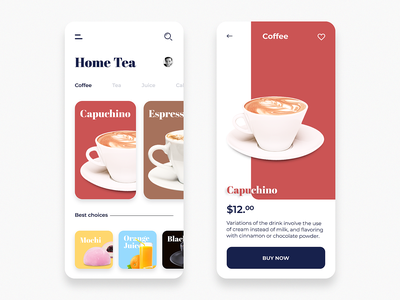 Home-Tea Order App inspired graphic creative ux ui filter file design download app