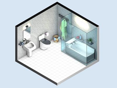 The bathroom ! bath animation digital illustraion house decoration vector flat interior creative tub bathroom 3d c4d cinema4d design color