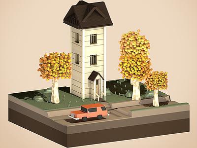 Poly House 🏡 polyhouse poly miniature game art render car c4dart tree house drawing illustration digital 3d artist 3d art cinema4d c4d 3d design vector color