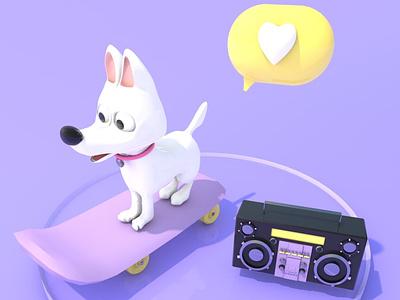 LUMO🐶 flat skateboard radio c4d character oldschool teyp skate icon 3dsmax drawing 3d artist dog blender cinema4d 3d 3d art design illustration color