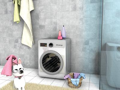 Lumo, what are you doing in the bathroom?🐶 icon 3dsmax blender happy render digitalart towel 3d artist charecter washing machine 3d art cinema4d 3d wash bathroom dog digital illustration design color