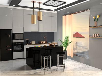 Kitchen modern blender render chair coffe fruit fridge room house dinner cook interaction design decoration c4d 3d art color kitchen cinema4d 3d illustration