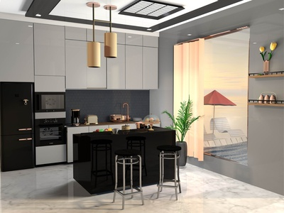 Kitchen modern blender render chair coffe fruit fridge room house dinner cook interaction design decoration c4d 3d art color kitchen cinema4d 3d illustration