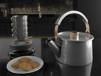 Tea-time cooking grey render cgi gold design abstract arnoldrender c4d interior color cup 3d art illustration cookie tea kitchen architecture cinema4d 3d