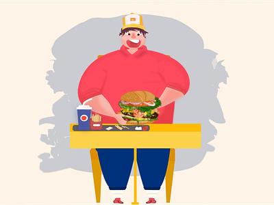 Fat Boy vector color table boy pepsi cook hat hungry food fastfood man fat burger design illustration