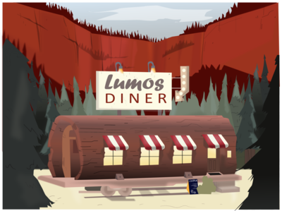 Restaurant in the woods redesign concept wood digital sign dribbble drawing window mountain restaurant dinner food red camp typography logo vector flat illustration design color