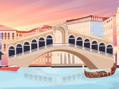 Venice Rialto Bridge rialto gondola boat italy venice building designer canal river sky bridge branding ui drawing flat vector dribbble design illustration color