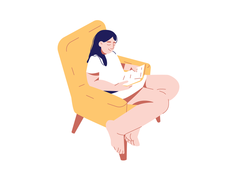 Leisure chair book reading woman female 2d adobe illustrator minimalist vector flat design character illustration