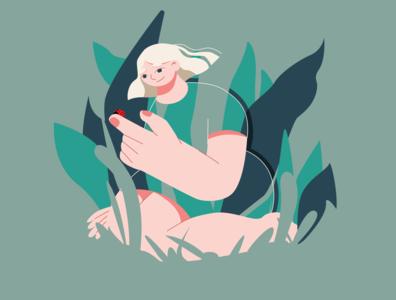 Explore Nature green woman 2d adobe illustrator minimalist vector flat design character illustration