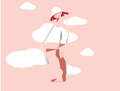 In the sky pink sky female 2d adobe illustrator minimalist vector flat design character illustration