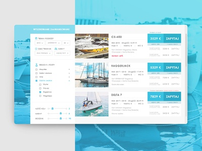 Yachts interface app website web design graphic design ux ui