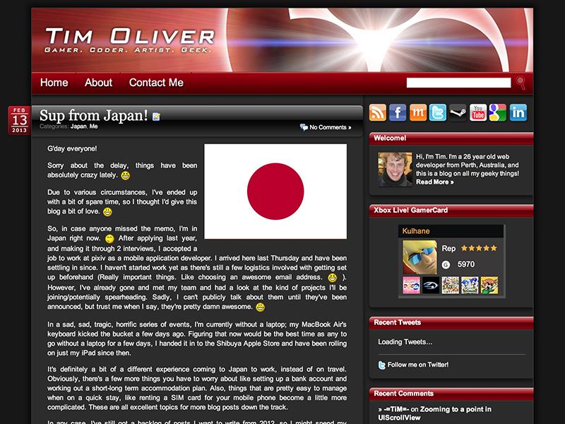 My Blog Theme 2008-2013 blog wordpress theme fixed width dark