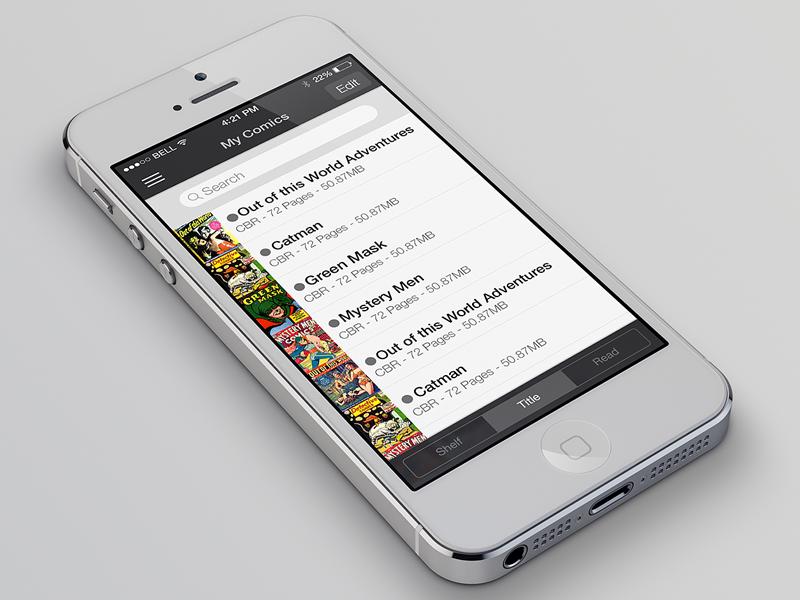 iComics - iOS 7 Redesign icomics app design simple flat iphone ios 7