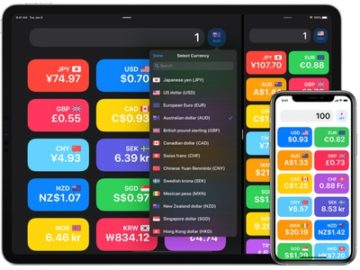 Modern iOS Currency Converter App for iOS minimal flat app iphone design ui dark mode rounded corners ios
