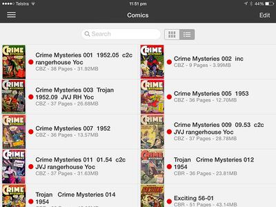 iComics iOS 7 Redesign on iPad