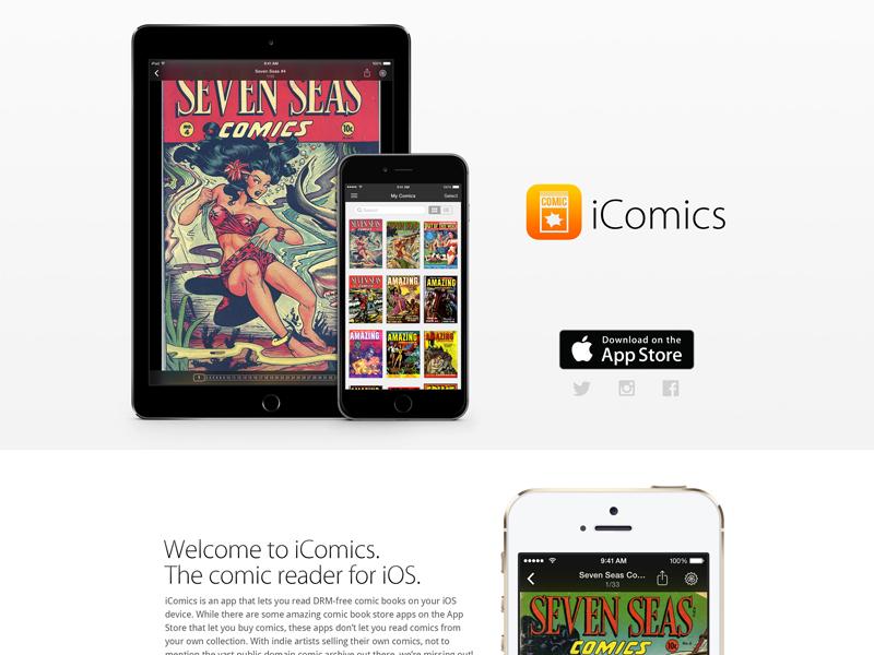 iComics Website - v1.1 Redesign icomics app site ios 7 ios 8 minimal flat light