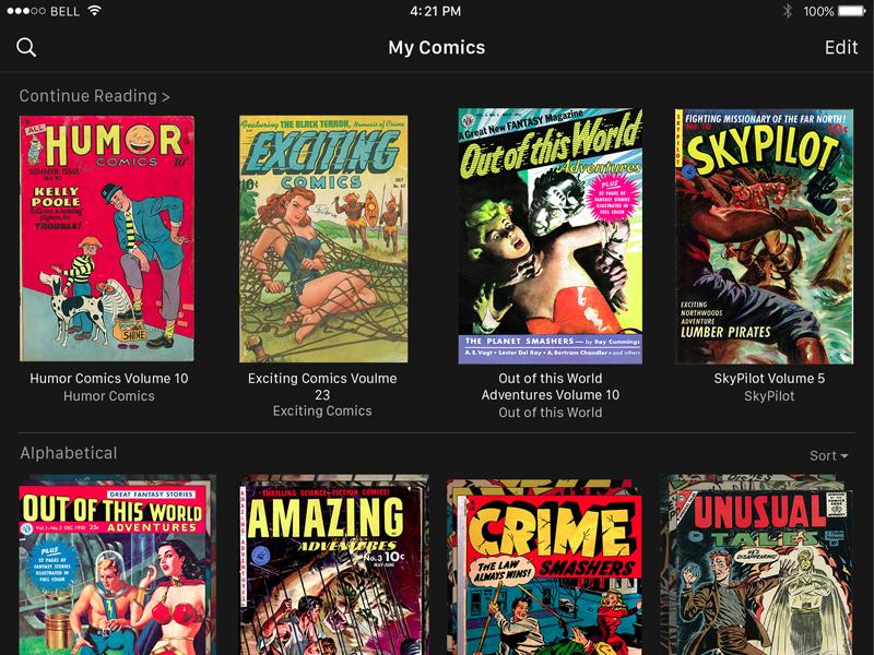 iComics 2.0 ipad dark minimal app ios icomics