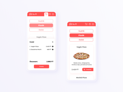 Su-Pi | Webshop for Sushi & Pizza Order food ordering web design webshop restaurant sushi pizza order page category page simple clean interface uidesign mobile responsive design