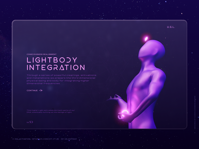 DNA Activation - 3D Modelling & Interface Concept // pt. 3. hightech 3d art 3d glassmorphism interface lightbody ascension clean concept landingpage spiritual spirit futuristic ui spirit technology minimal website web ui illustration design