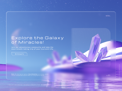 Galaxy Exploration - 3D Design & UI Concept pt. 1. design 3d 3dart illustration website web flat minimal clean futuristic interface futuristic ui crystal travel galactic blendercycles blender glassmorphism hightech planet