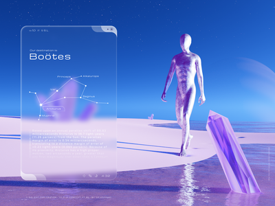 Galaxy Exploration - 3D Design & Futuristic UI pt. 2. stars spacetime space universe galactic hightech futuristic ui futuristic clean flat illustration 3d art 3d minimal glassmorphism interface website web ui design