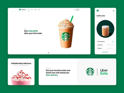 Starbucks (UI elements) web app illustration starbucks ui design coffee ux vector logo art branding ui
