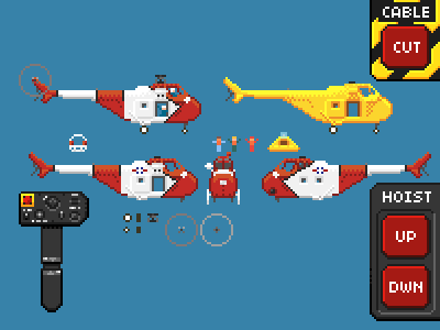 Sprite Sheet helicopter pixel art chopper