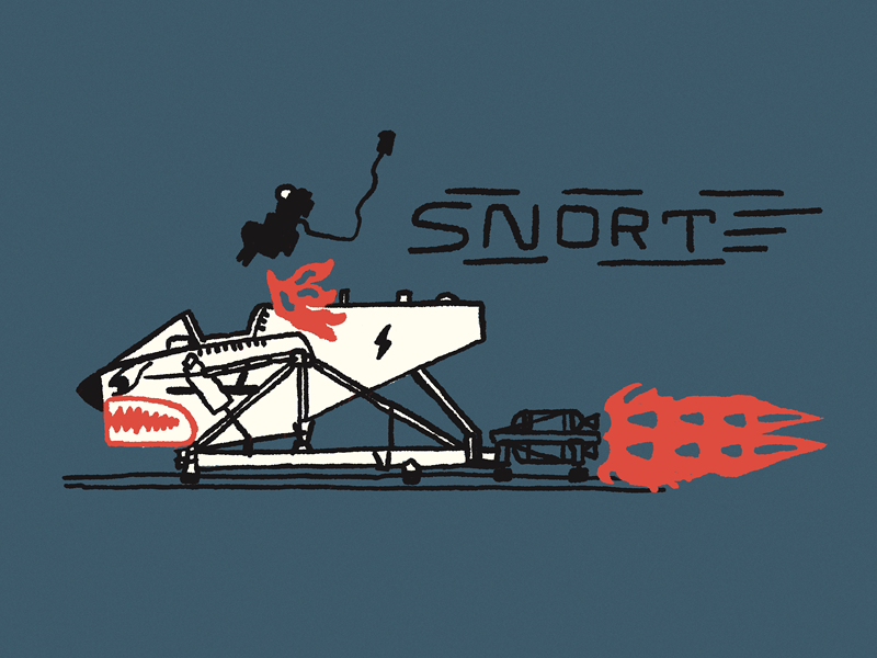 SNORT ink hand drawn line art ejection seat rocket sled