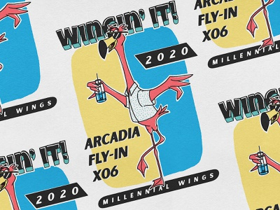 Arcadia Fly-In flamingo vintage illustration