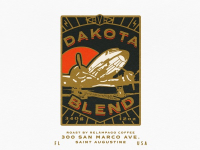 Dakota Blend Label lockups lock up lockup coffee label coffee packaging aircraft