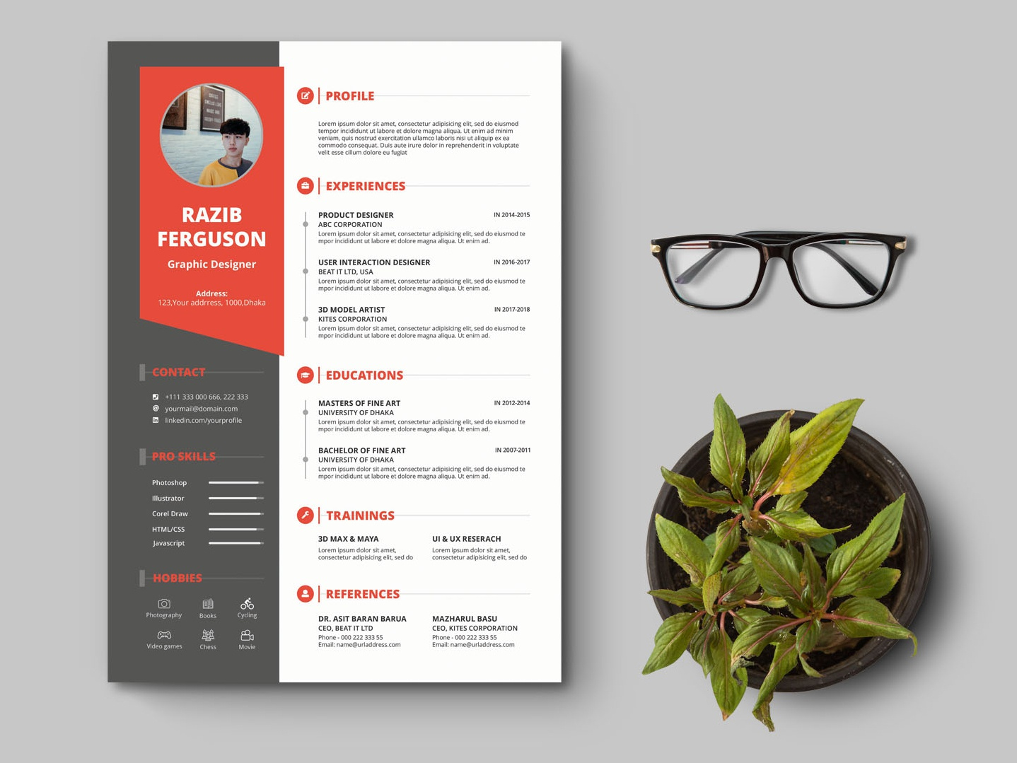 free curriculum vitae design template by james han on dribbble
