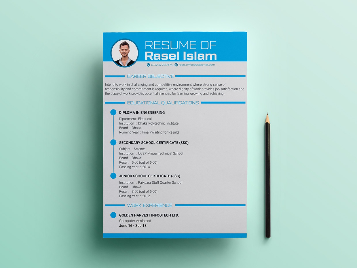 Free Engineering CV/Resume Template by James Han on Dribbble