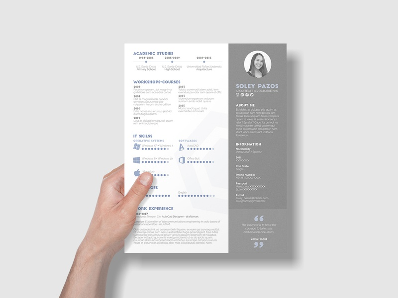 Free Architecture Resume Template By James Han On Dribbble