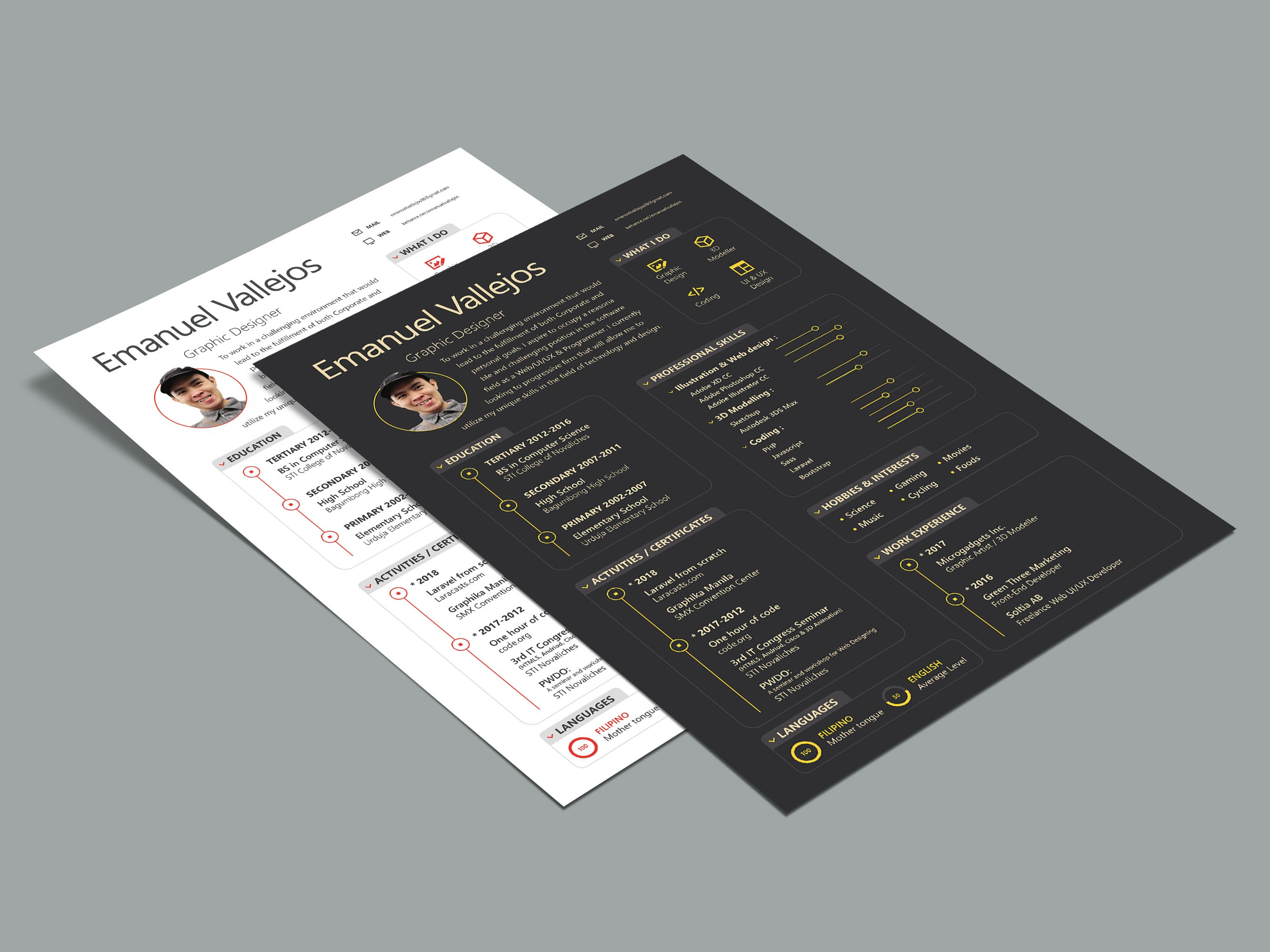 Free Illustrator Resume Template by James Han on Dribbble