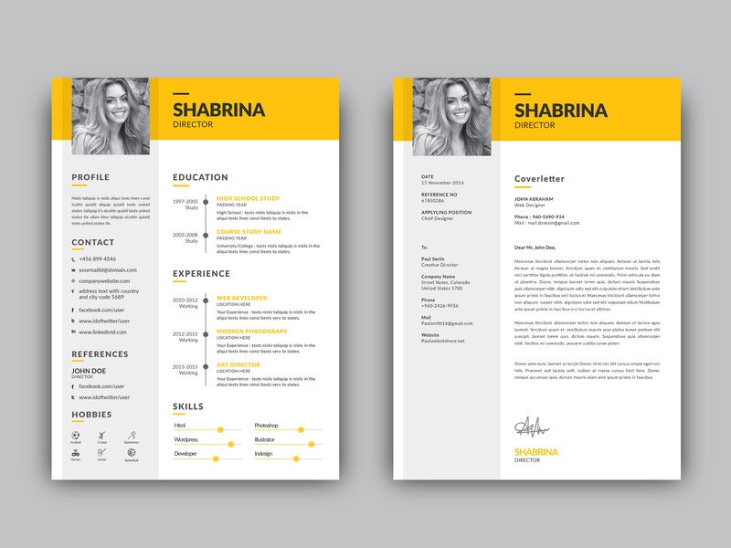 Free Resume Template + Cover Letter by James Han on Dribbble