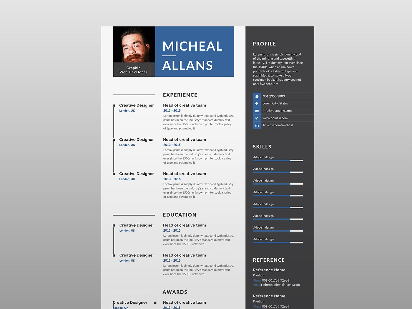 Free Resume Template With Two Color Version By James Han On Dribbble