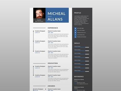 Free Resume Template With Two Color Version