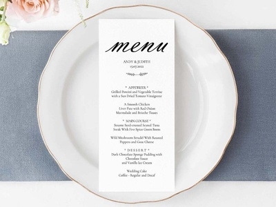 Free Wedding Menu Template