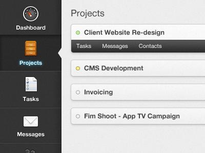Project Management Webapp ui webapp navigation list