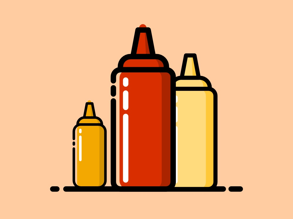 Sauces sauces mustard mayonnaise ketchup food affinitydesigner flat icon vector illustration