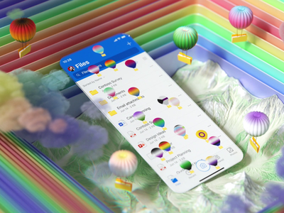 Microsoft OneDrive App: Pride Hot Air Balloons loveislove lgbtq cinema4d motiongraphics design microsoft