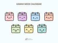 Abstract Kawaii Calendar Icons