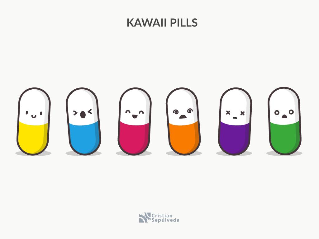 Kawaii Pills pills icons pack icon artwork icon kawaii vector illustration design 2d