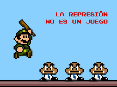 Old pixel art against  repression